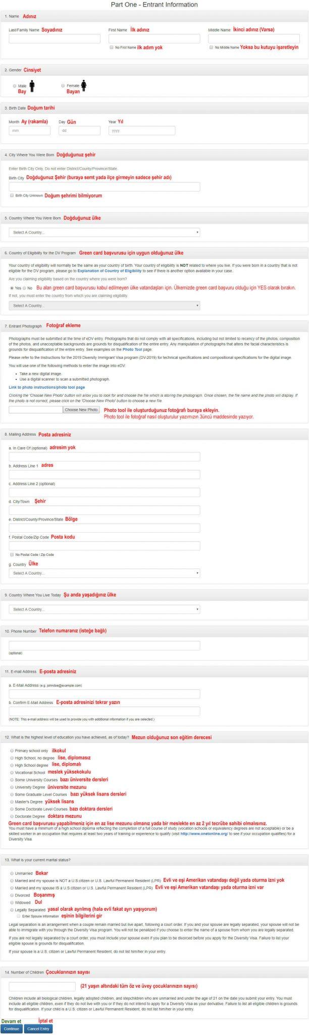 Green Card Başvuru Formu Türkçe Açıklamalı